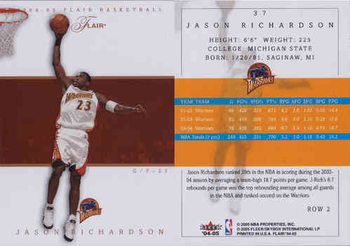 2004-05 Flair Row 2 #37 Jason Richardson 1/1 Warriors!