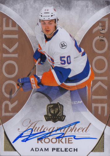 2015-16 The Cup Gold #104 Adam Pelech AUTO RC /24 Islanders!