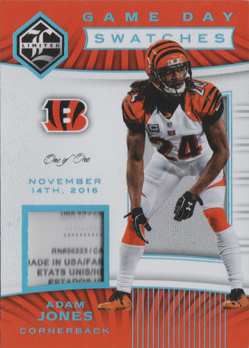 2017 Limited Game Day Swatches Super Prime #2 Adam Jones !!! 1/1 !!! Bengals!
