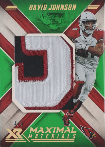 2018 Panini XR Maximal Materials Green #15 David Johnson Number Patch /5 Cardinals!